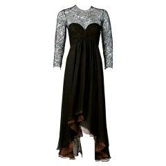 09b14b9630e38 1995 Oscar de la Renta Black Lace Illusion and Mocha Silk-Chiffon Sculpted  Dress