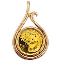 1995 Panda Coin Gold Pendant, 24K Gold Panda Coin, 1/20th oz Gold Panda Coin
