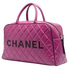 1995 Rare Chanel Pink Boston Bowling Tote Bag