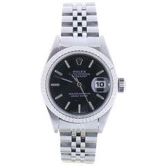 1995 Rolex Datejust 69174 26 Millimeters Black Dial 18 Karat White Gold Bezel