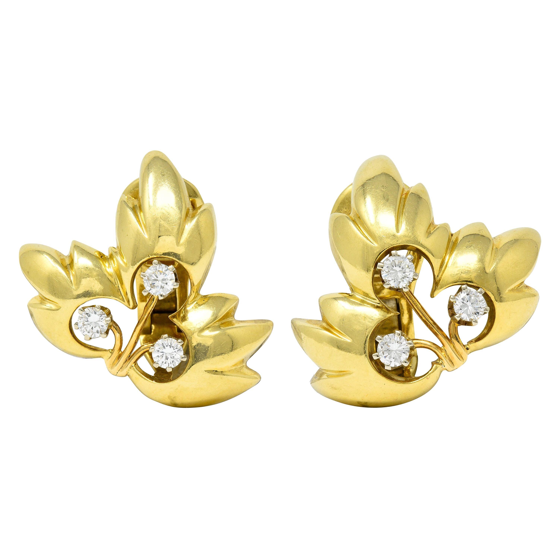 1995 Tiffany & Co. 0.65 Carat Diamond 18 Karat Gold Leaf Ear-Clip Earrings