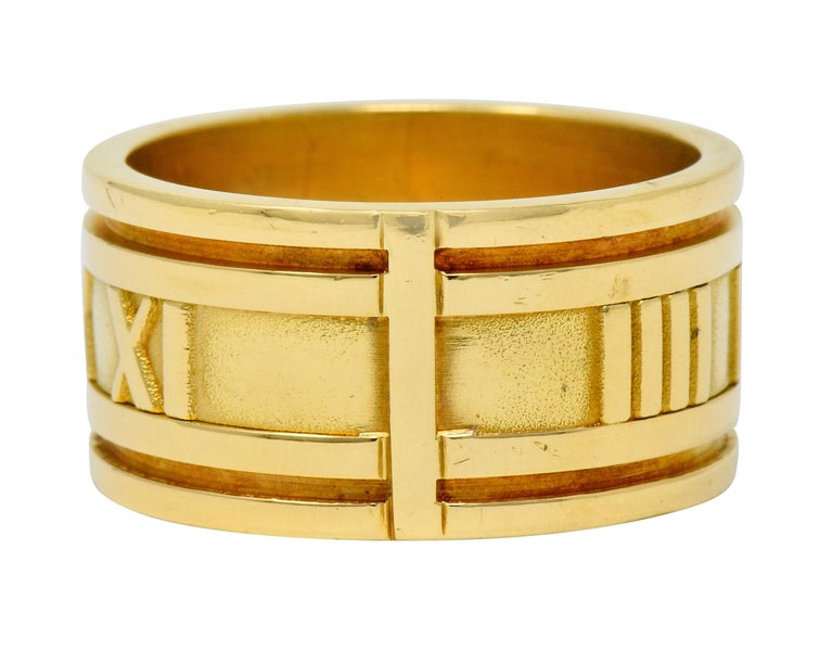 1995 Tiffany & Co. 18 Karat Yellow Gold Unisex Atlas Band Ring In Excellent Condition In Philadelphia, PA