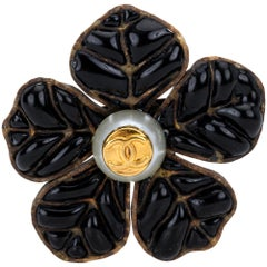 1995 Vintage Chanel Poured Glass Black Camellia Pin