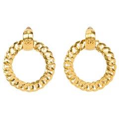 1995 Vintage Chanel Satin Gold Door Knocker Earrings