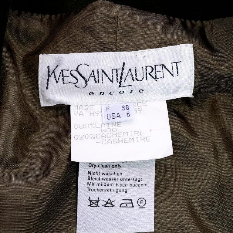 1995 Yves Saint Laurent Vintage Jacket in Cashmere Wool Green Plaid & Velvet For Sale 5