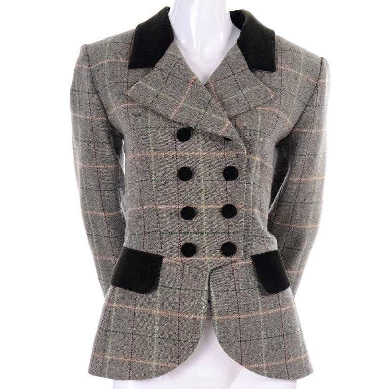 This plaid Yves Saint Laurent jacket has so much style. It is from Yves Saint Laurent Encore, a diffusion line, but there is no compromise in garment structure, style, and quality! Marked as H95, helping us date this blazer to a Fall/Winter 1995