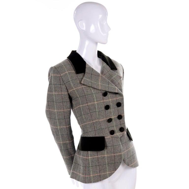Gray 1995 Yves Saint Laurent Vintage Jacket in Cashmere Wool Green Plaid & Velvet For Sale