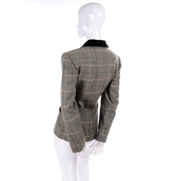 1995 Yves Saint Laurent Vintage Jacket in Cashmere Wool Green Plaid & Velvet In Excellent Condition For Sale In Portland, OR
