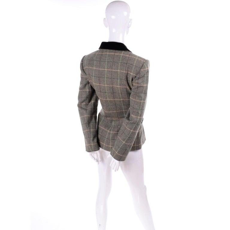 Women's 1995 Yves Saint Laurent Vintage Jacket in Cashmere Wool Green Plaid & Velvet For Sale