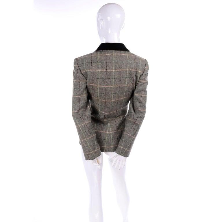 1995 Yves Saint Laurent Vintage Jacket in Cashmere Wool Green Plaid & Velvet For Sale 1