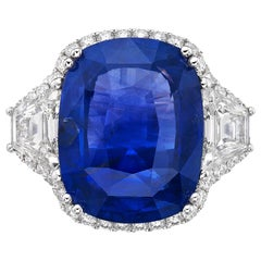 19.95 Natural Non Heated Sapphire and GRS Certified Diamond Ring, Cushion Cut