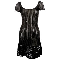 1996 AZZEDINE ALAIA black beaded and sequined dress