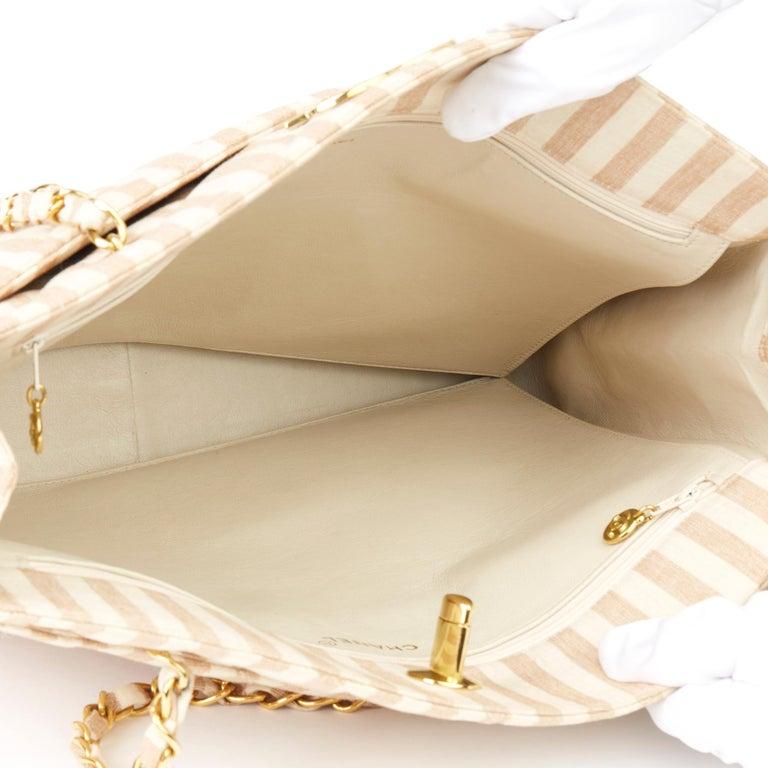 1996 Chanel Beige & Brown Quilted Linen Vintage XL Timeless Shoulder Bag For Sale 7