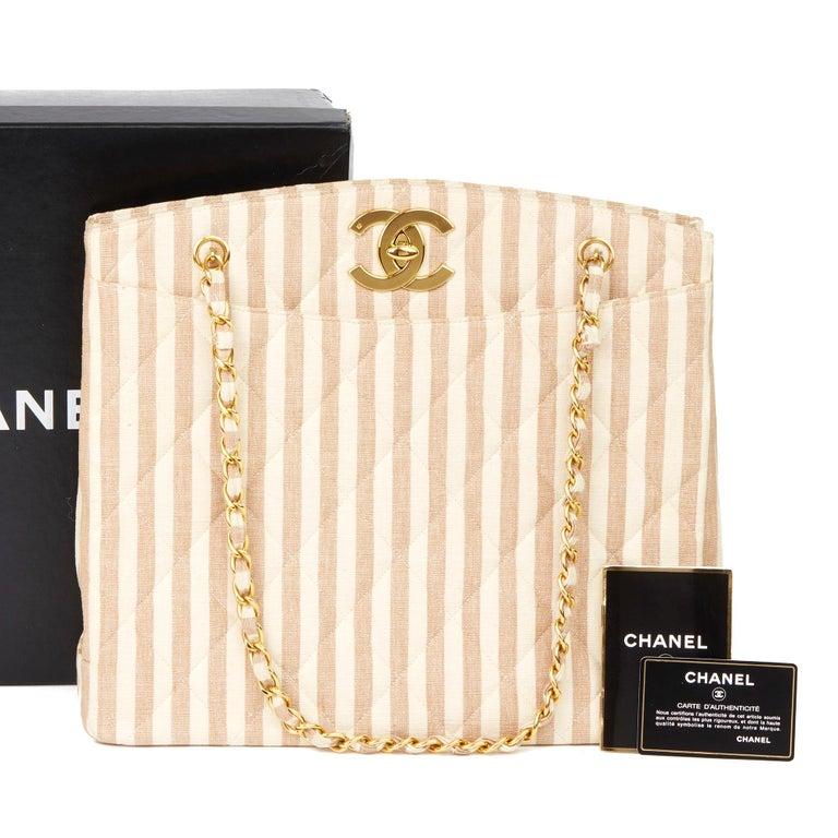 1996 Chanel Beige & Brown Quilted Linen Vintage XL Timeless Shoulder Bag For Sale 8