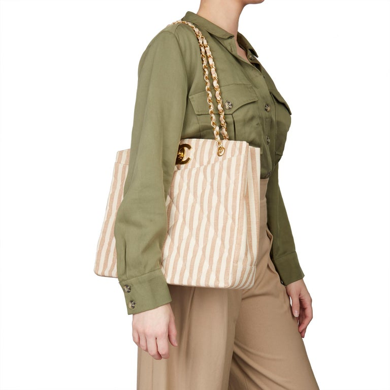 CHANEL Beige & Brown Quilted Linen Vintage XL Timeless Shoulder Bag  Xupes Reference: HB3240 Serial Number: 3246068 Age (Circa): 1996 Accompanied By: Chanel Dust Bag, Box, Authenticity Card, Care Booklet Authenticity Details: Serial Sticker (Made in