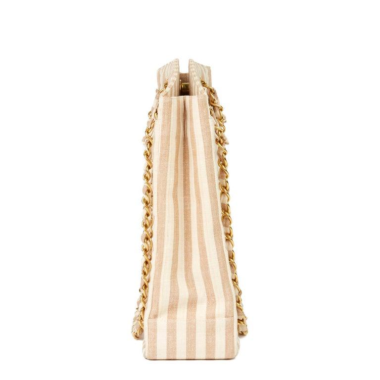 1996 Chanel Beige & Brown Quilted Linen Vintage XL Timeless Shoulder Bag In Excellent Condition For Sale In Bishop's Stortford, Hertfordshire