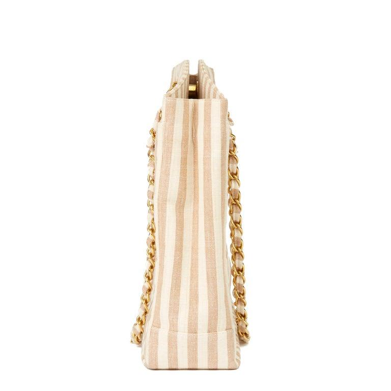 Women's 1996 Chanel Beige & Brown Quilted Linen Vintage XL Timeless Shoulder Bag For Sale