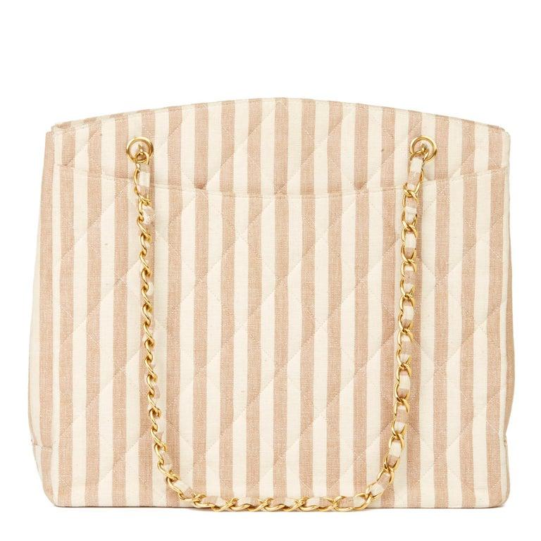 1996 Chanel Beige & Brown Quilted Linen Vintage XL Timeless Shoulder Bag For Sale 1