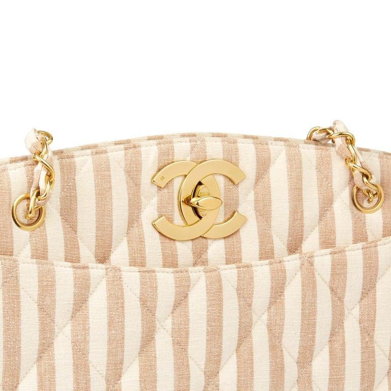 1996 Chanel Beige & Brown Quilted Linen Vintage XL Timeless Shoulder Bag For Sale 3