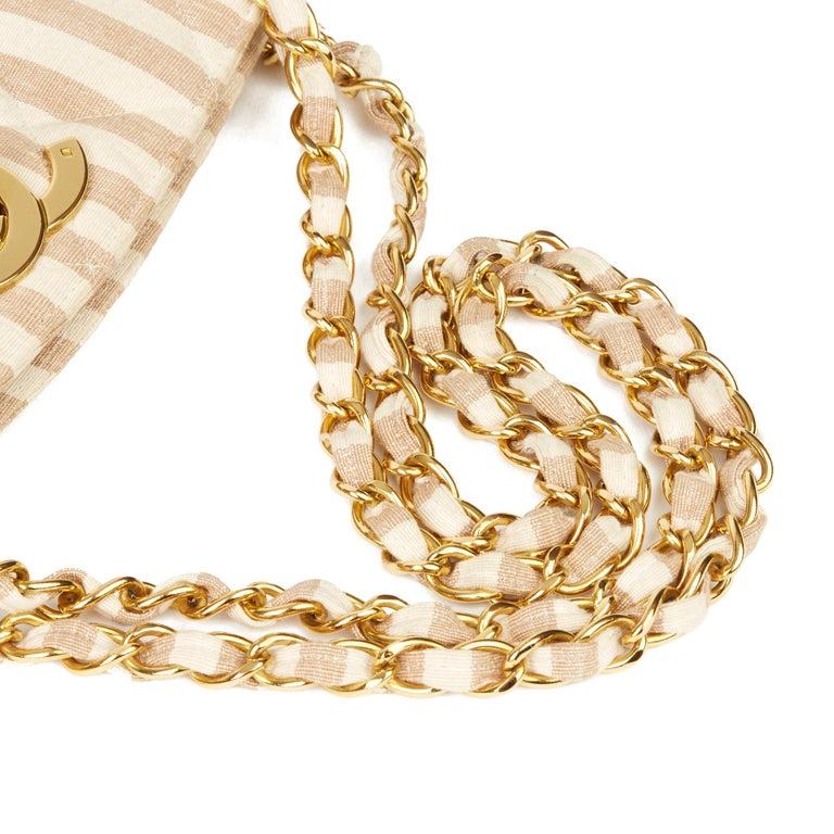 1996 Chanel Beige & Brown Quilted Linen Vintage XL Timeless Shoulder Bag For Sale 4