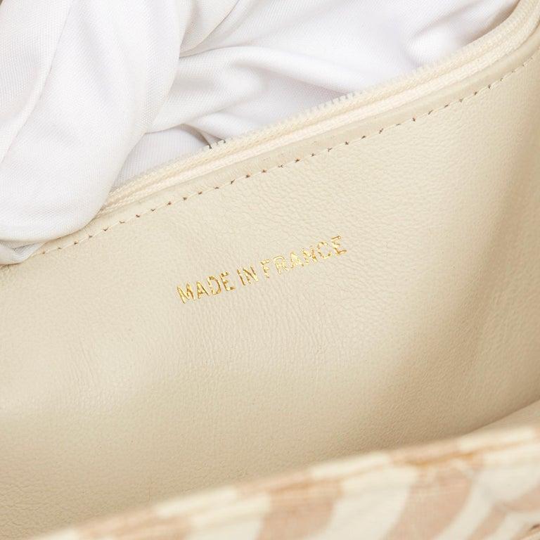 1996 Chanel Beige & Brown Quilted Linen Vintage XL Timeless Shoulder Bag For Sale 5