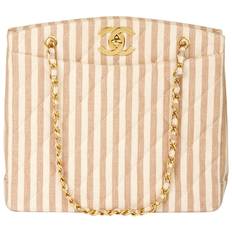 1996 Chanel Beige & Brown Quilted Linen Vintage XL Timeless Shoulder Bag For Sale