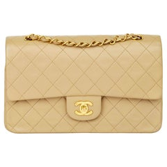 1996 Chanel Beige Quilted Lambskin Vintage Medium Classic Double Flap Bag
