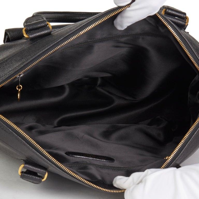 1996 Chanel Black Caviar Leather Vintage Classic Shoulder Tote For Sale 7