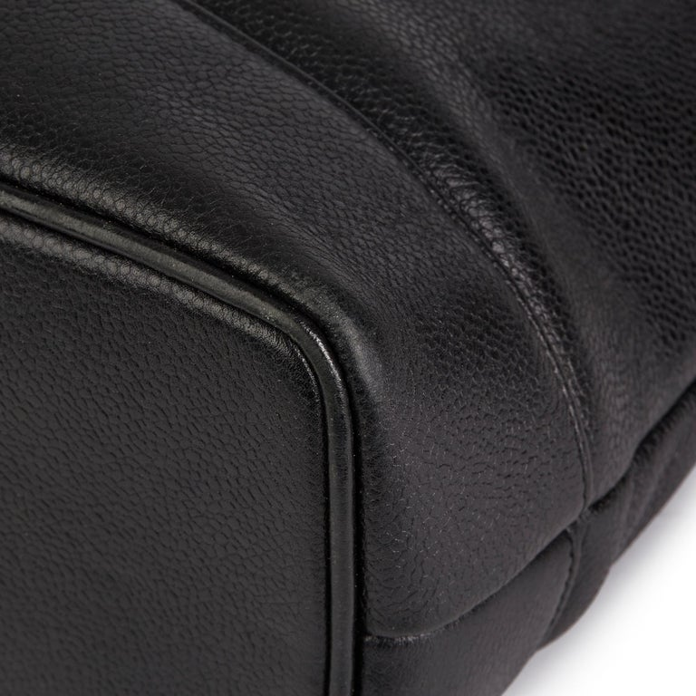 1996 Chanel Black Caviar Leather Vintage Classic Shoulder Tote For Sale 8