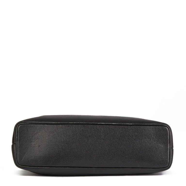 1996 Chanel Black Caviar Leather Vintage Classic Shoulder Tote For Sale 2