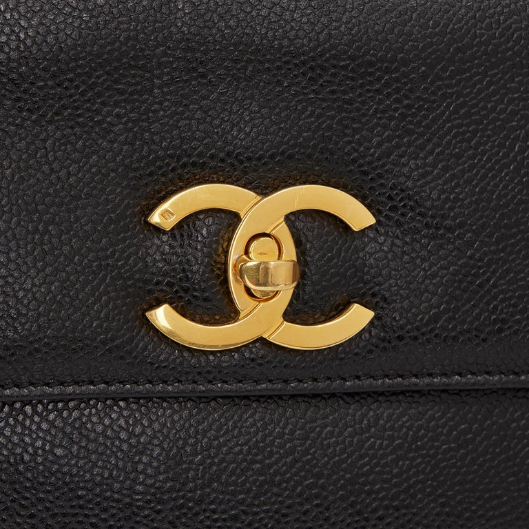 1996 Chanel Black Caviar Leather Vintage Classic Shoulder Tote For Sale 3