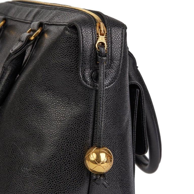 1996 Chanel Black Caviar Leather Vintage Classic Shoulder Tote For Sale 4