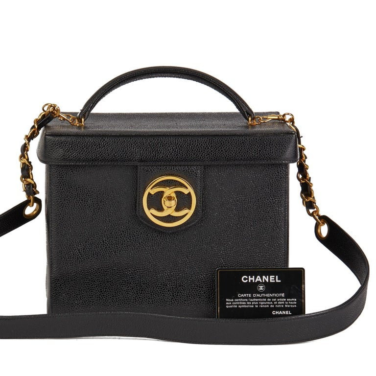 1996 Chanel Black Caviar Leather Vintage Classic Vanity Case  For Sale 9