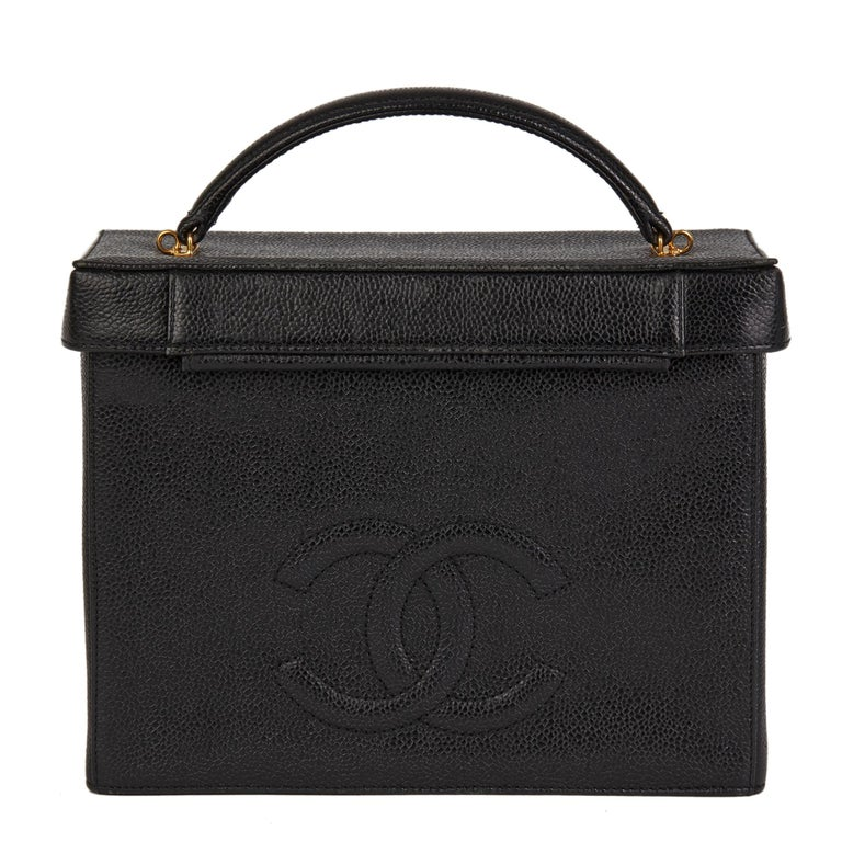 1996 Chanel Black Caviar Leather Vintage Classic Vanity Case  For Sale 1