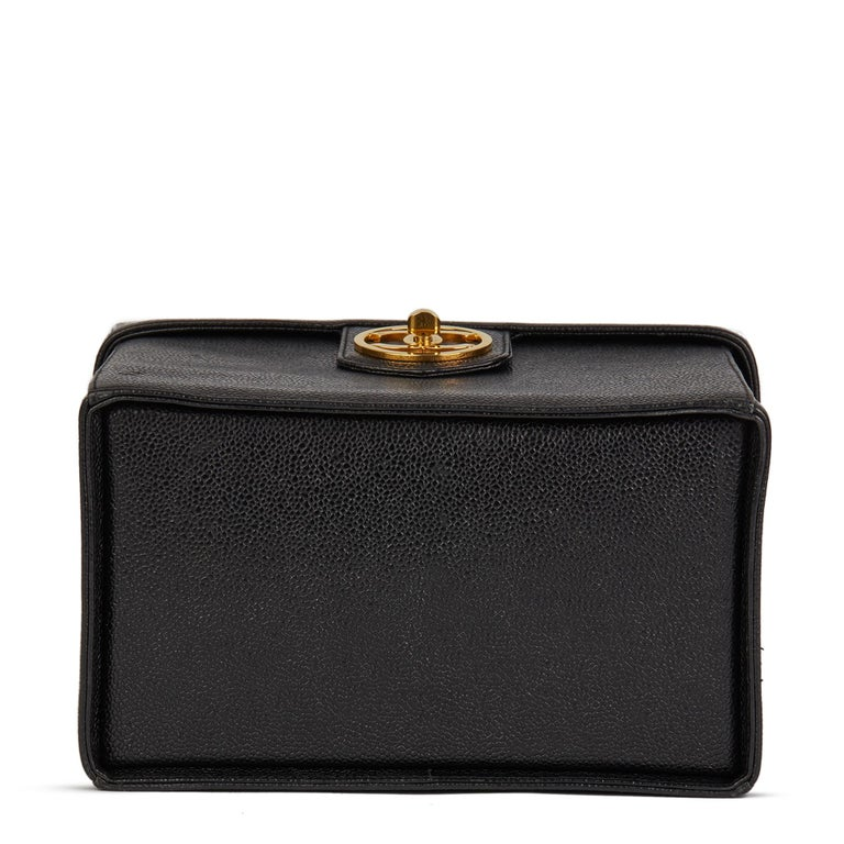 1996 Chanel Black Caviar Leather Vintage Classic Vanity Case  For Sale 2