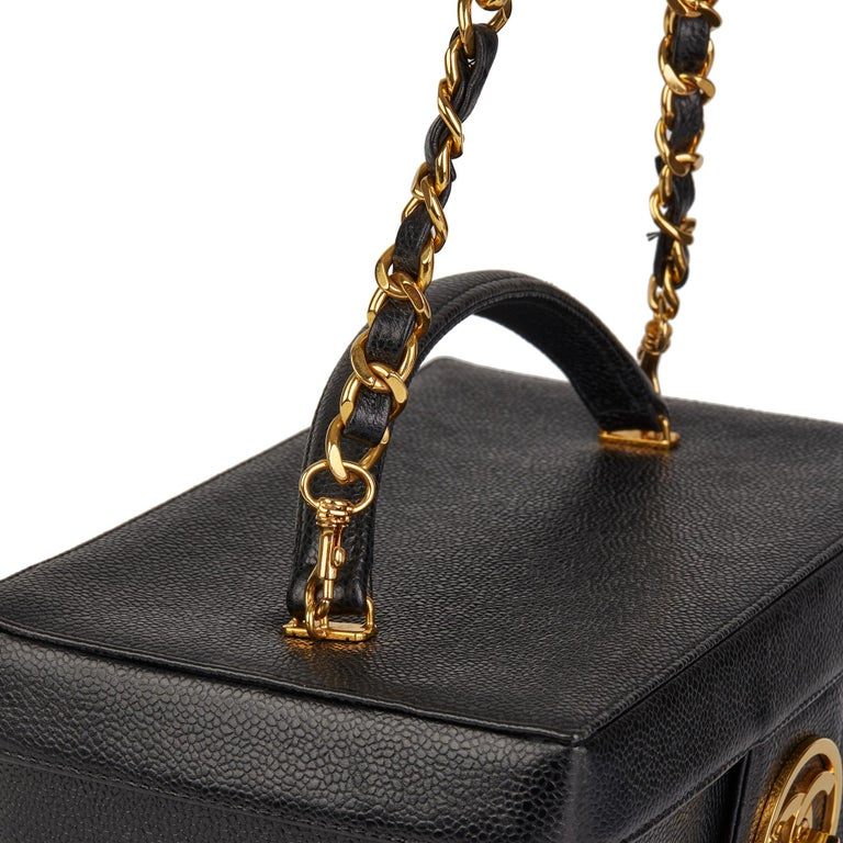 1996 Chanel Black Caviar Leather Vintage Classic Vanity Case  For Sale 4