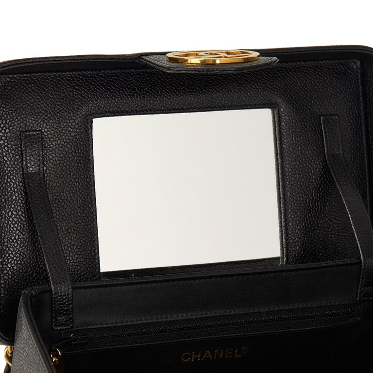 1996 Chanel Black Caviar Leather Vintage Classic Vanity Case  For Sale 5