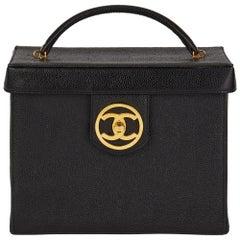 1996 Chanel Black Caviar Leather Vintage Classic Vanity Case