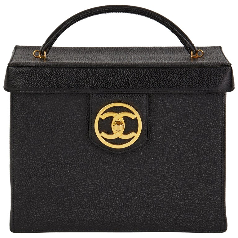 1996 Chanel Black Caviar Leather Vintage Classic Vanity Case  For Sale