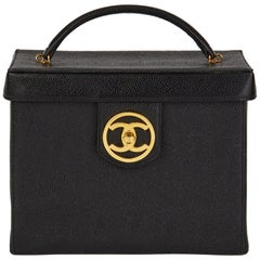 1996 Chanel Black Caviar Leather Vintage Classic Vanity Case