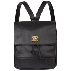 1996 Chanel Black Caviar Leather Vintage Logo Trim Classic Backpack