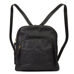 1996 Chanel Black Caviar Leather Vintage Timeless Backpack
