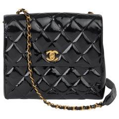 1996 Chanel Black Patent Leather Vintage Classic Single Flap Bag