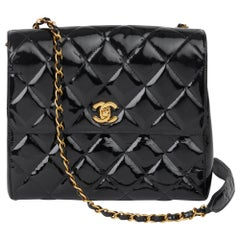 1996 Chanel Black Patent Leather Vintage Classic Single Flap Bag