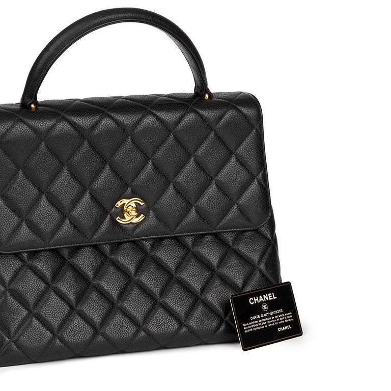 3fe5b4e7ba4a 1996 Chanel Black Quilted Caviar Leather Vintage Classic Kelly Flap Bag For  Sale 5
