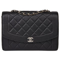 1996 Chanel Black Quilted Caviar Leather Vintage Large Diana Classic Single Flap