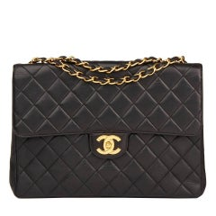 1996 Chanel Black Quilted Lambskin Vintage Jumbo Classic Single Flap Bag