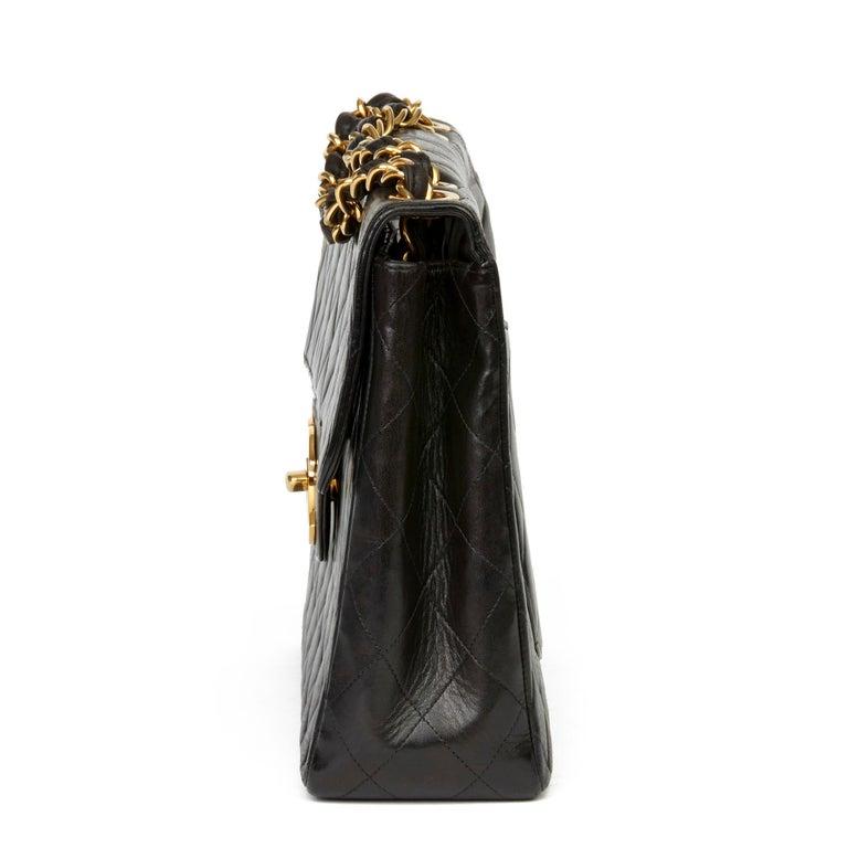 1996 Chanel Black Quilted Lambskin Vintage Jumbo XL Flap Bag In Good Condition For Sale In Bishop's Stortford, Hertfordshire