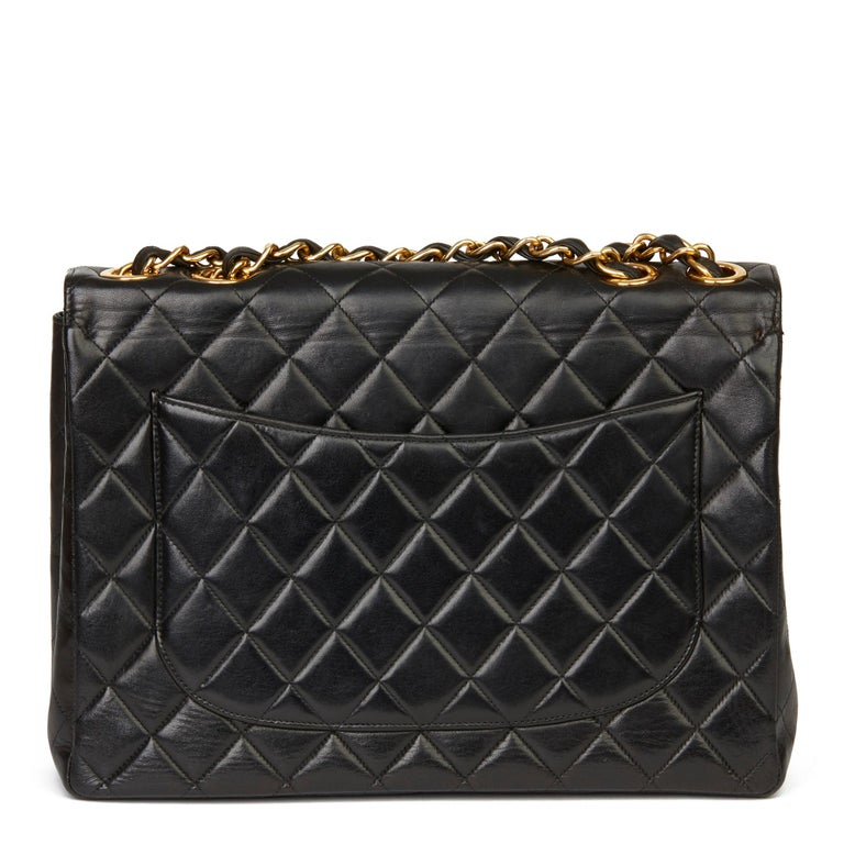 Women's 1996 Chanel Black Quilted Lambskin Vintage Jumbo XL Flap Bag For Sale