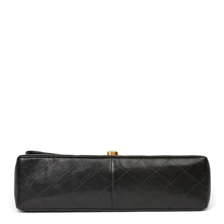1996 Chanel Black Quilted Lambskin Vintage Jumbo XL Flap Bag For Sale 1